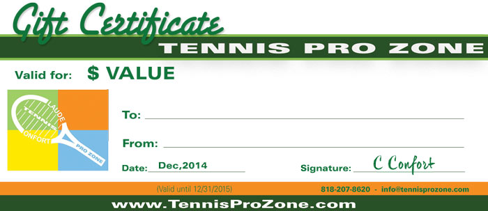 Tennis pro zone gift certificates tennis pro zone academy tpz gift certificate sample yadclub Images